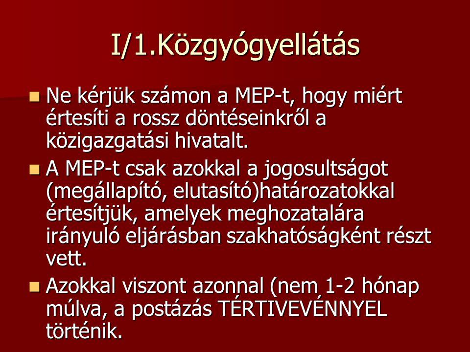 I/1.Közgyógyellátás Ne kérjük számon a MEP-t, hogy miért értesíti a rossz döntéseinkről a közigazgatási hivatalt.