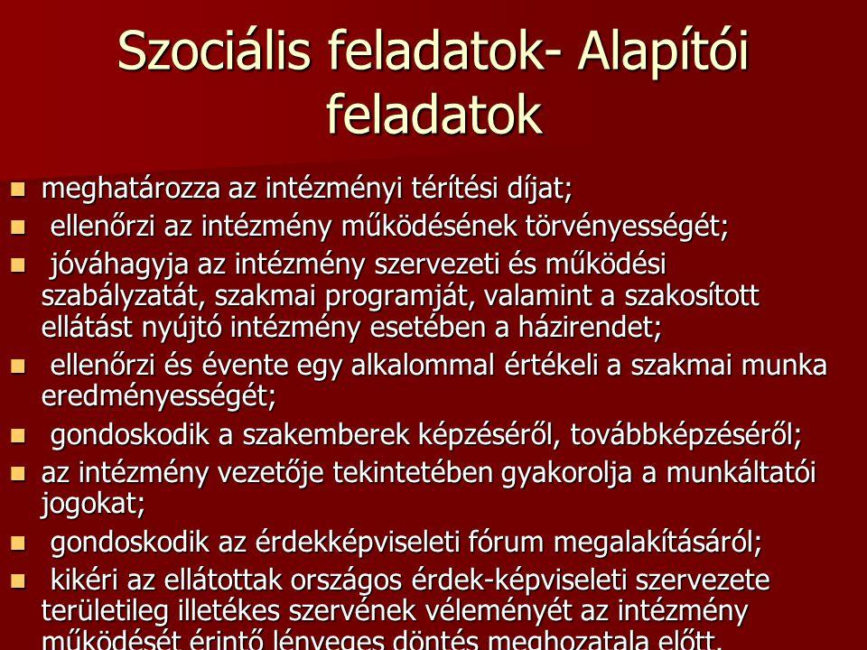 Szociális feladatok- Alapítói feladatok