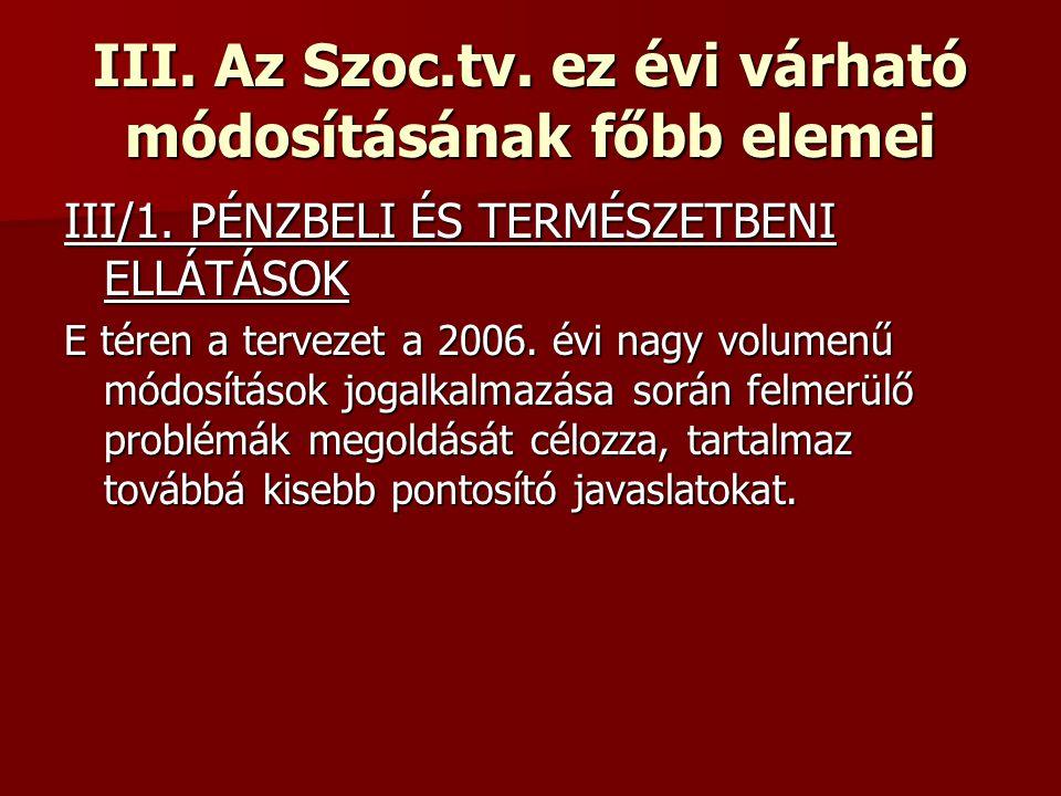 III. Az Szoc.tv. ez évi várható módosításának főbb elemei