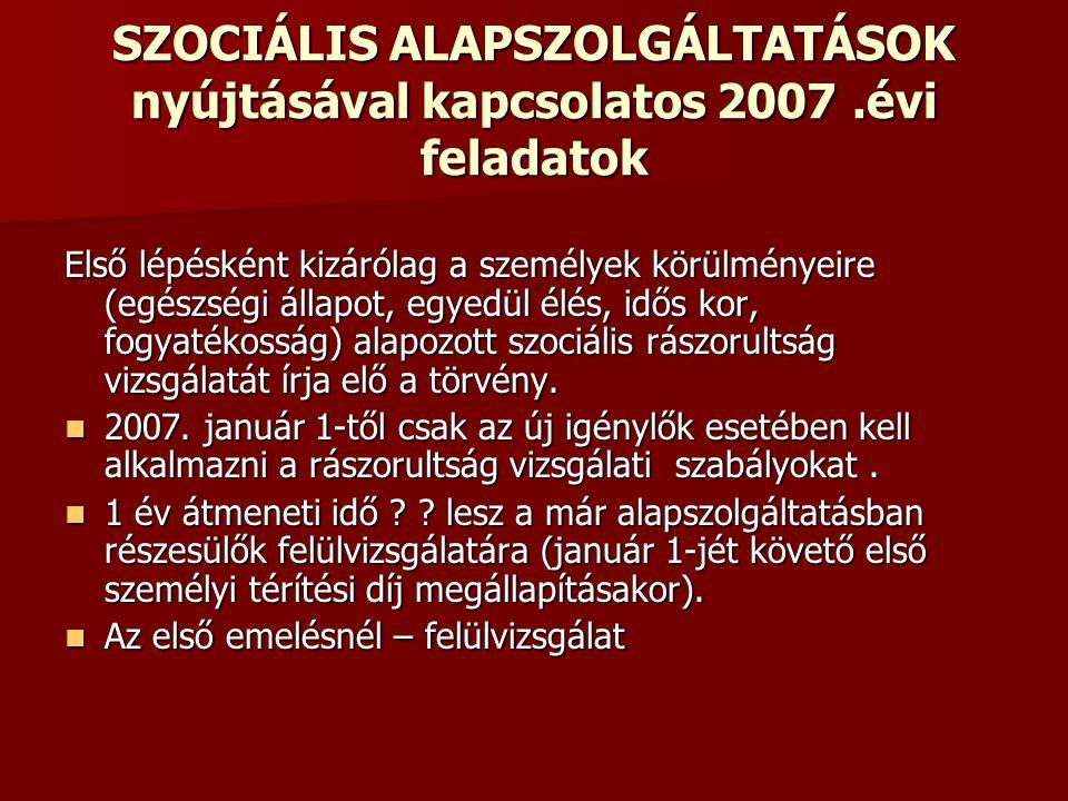 SZOCIÁLIS ALAPSZOLGÁLTATÁSOK nyújtásával kapcsolatos 2007