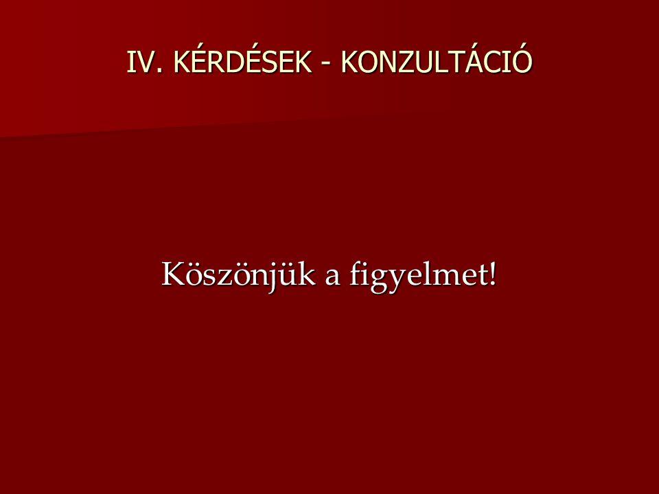 IV. KÉRDÉSEK - KONZULTÁCIÓ