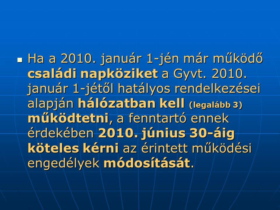 Ha a 2010. január 1-jén már működő családi napköziket a Gyvt. 2010