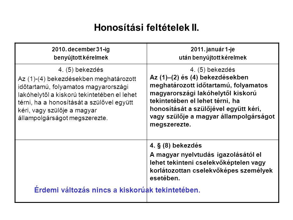 Honosítási feltételek II.