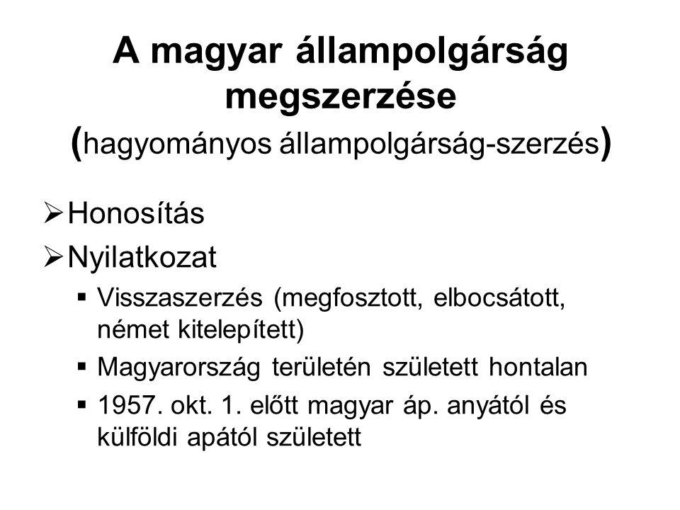 A magyar állampolgárság megszerzése (hagyományos állampolgárság-szerzés)