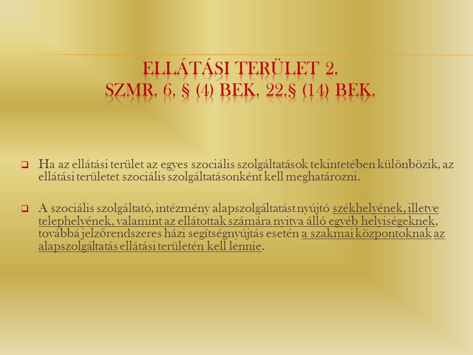 Ellátási terület 2. Szmr. 6. § (4) bek. 22.§ (14) bek.