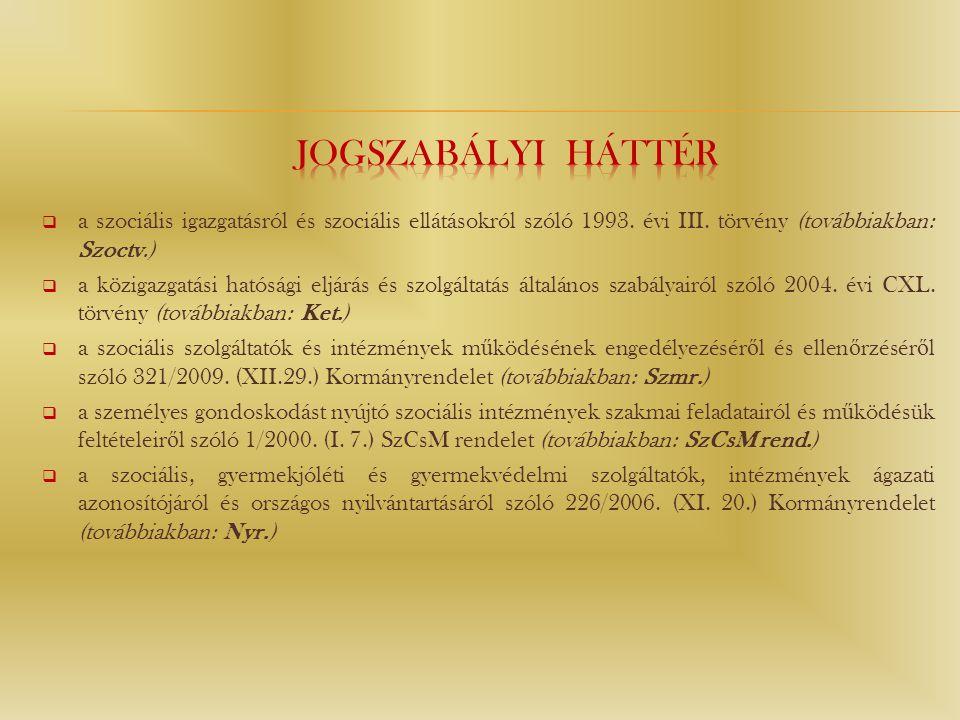 JOGSZABÁLYI HÁTTÉR a szociális igazgatásról és szociális ellátásokról szóló 1993. évi III. törvény (továbbiakban: Szoctv.)