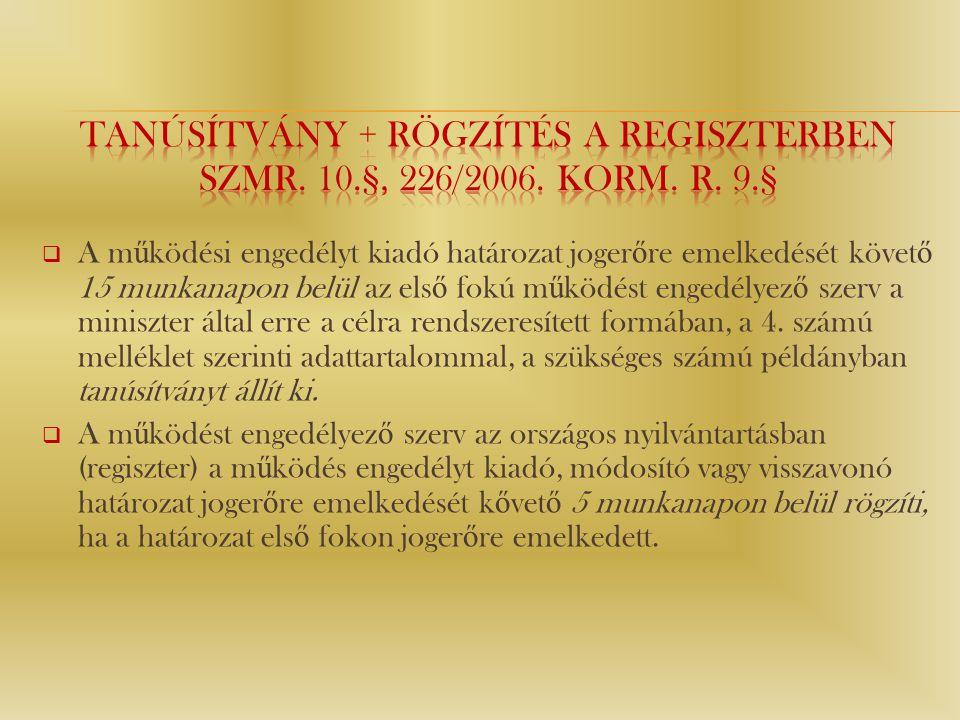 Tanúsítvány + Rögzítés a regiszterben Szmr. 10.§, 226/2006. Korm. r. 9.§