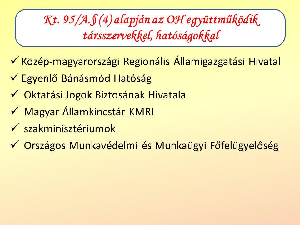 Kt. 95/A.§ (4) alapján az OH együttműködik társszervekkel, hatóságokkal