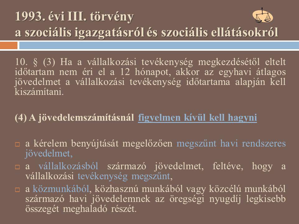 1993. évi III. törvény a szociális igazgatásról és szociális ellátásokról