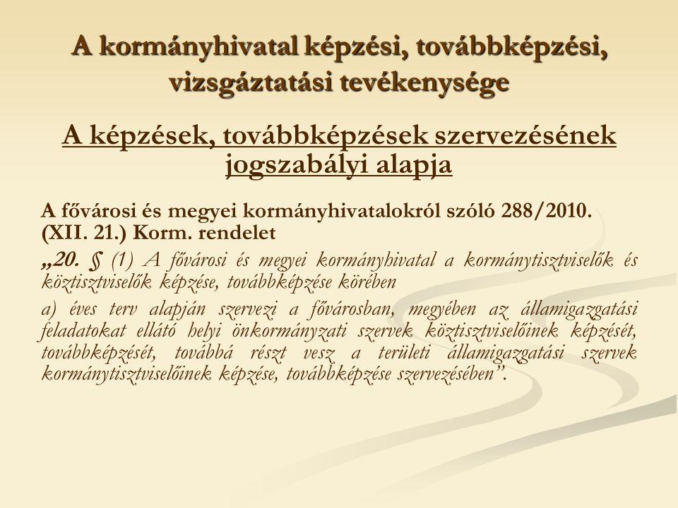 A kormányhivatal képzési, továbbképzési, vizsgáztatási tevékenysége