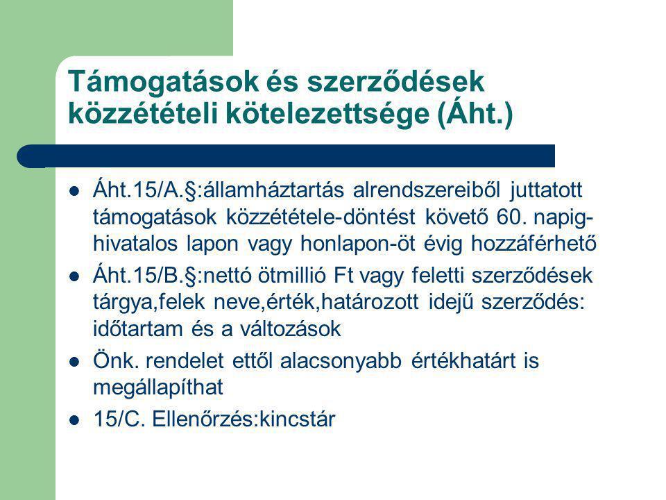 Támogatások és szerződések közzétételi kötelezettsége (Áht.)