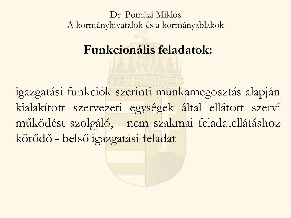 Dr. Pomázi Miklós A kormányhivatalok és a kormányablakok