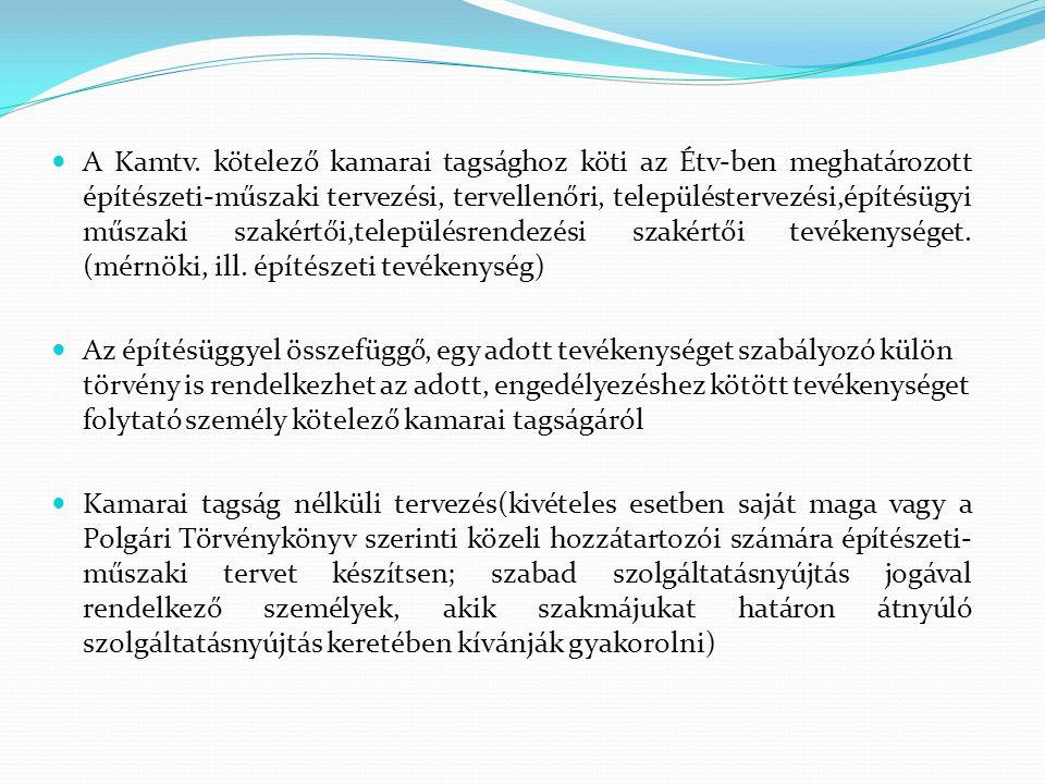 A Kamtv. kötelező kamarai tagsághoz köti az Étv-ben meghatározott építészeti-műszaki tervezési, tervellenőri, településtervezési,építésügyi műszaki szakértői,településrendezési szakértői tevékenységet. (mérnöki, ill. építészeti tevékenység)
