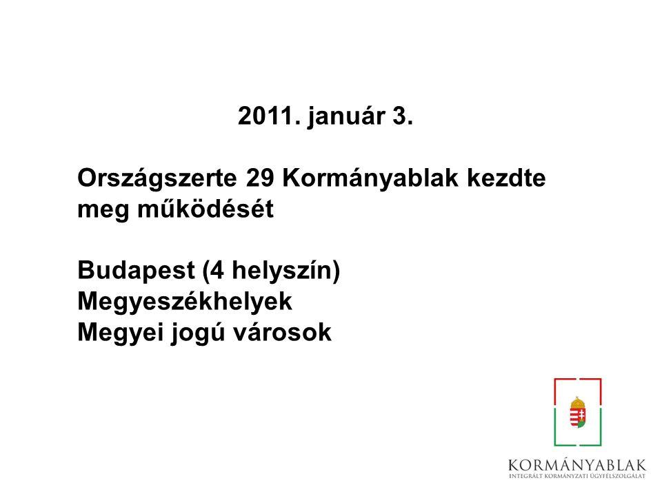 2011. január 3. Országszerte 29 Kormányablak kezdte. meg működését. Budapest (4 helyszín) Megyeszékhelyek.