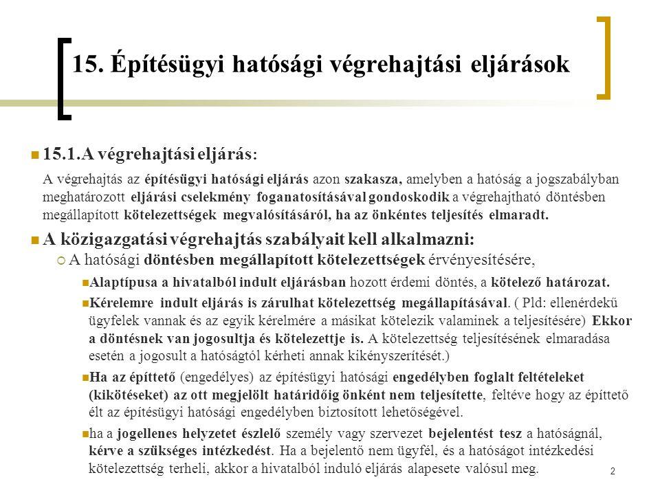 15. Építésügyi hatósági végrehajtási eljárások