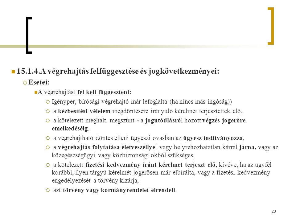 15.1.4.A végrehajtás felfüggesztése és jogkövetkezményei: