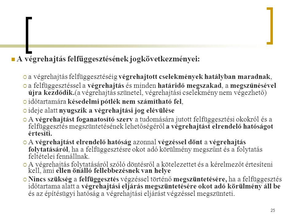 A végrehajtás felfüggesztésének jogkövetkezményei: