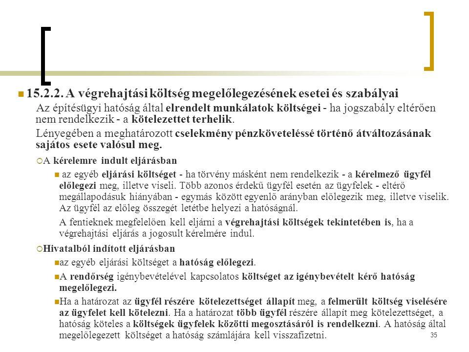 15.2.2. A végrehajtási költség megelőlegezésének esetei és szabályai