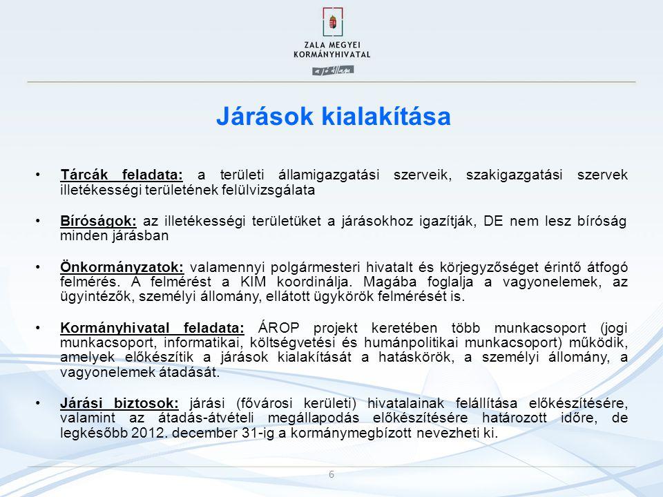 Járások kialakítása Tárcák feladata: a területi államigazgatási szerveik, szakigazgatási szervek illetékességi területének felülvizsgálata.