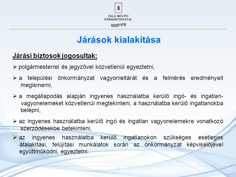 Járások kialakítása Járási biztosok jogosultak: