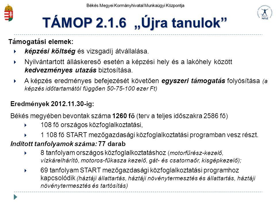 """TÁMOP 2.1.6 """"Újra tanulok Támogatási elemek:"""