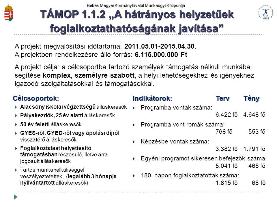 """TÁMOP 1.1.2 """"A hátrányos helyzetűek foglalkoztathatóságának javítása"""