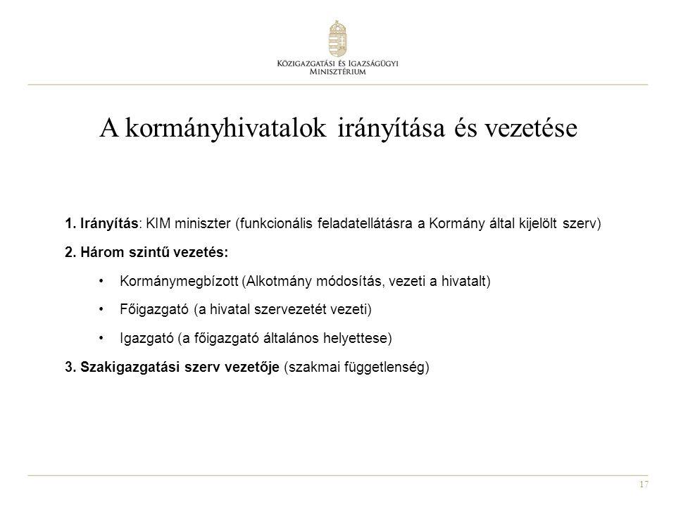 A kormányhivatalok irányítása és vezetése