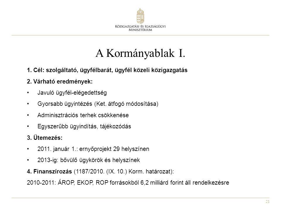 A Kormányablak I. 1. Cél: szolgáltató, ügyfélbarát, ügyfél közeli közigazgatás. 2. Várható eredmények: