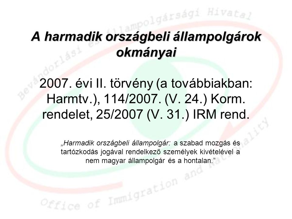 A harmadik országbeli állampolgárok okmányai 2007. évi II
