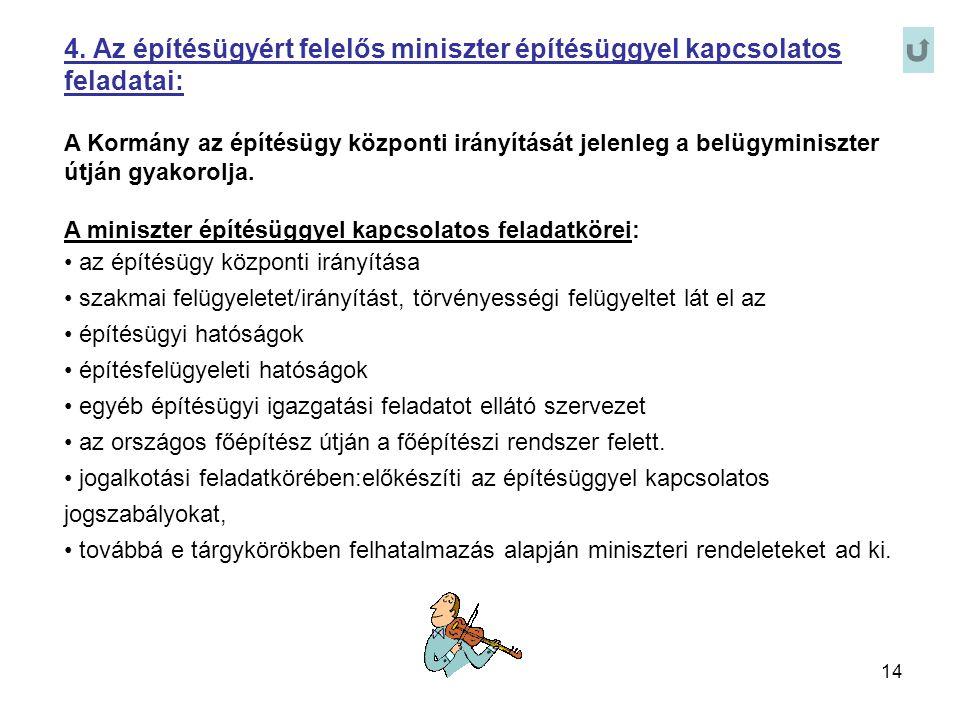 4. Az építésügyért felelős miniszter építésüggyel kapcsolatos feladatai: