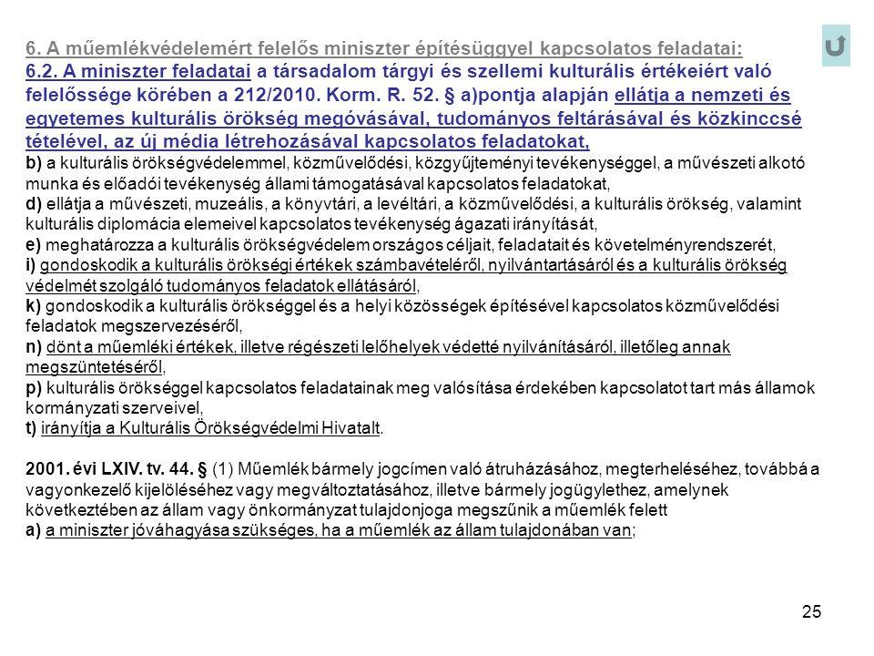 6. A műemlékvédelemért felelős miniszter építésüggyel kapcsolatos feladatai:
