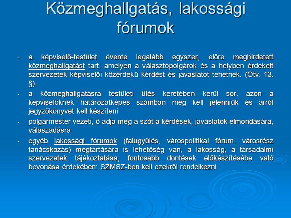 Közmeghallgatás, lakossági fórumok