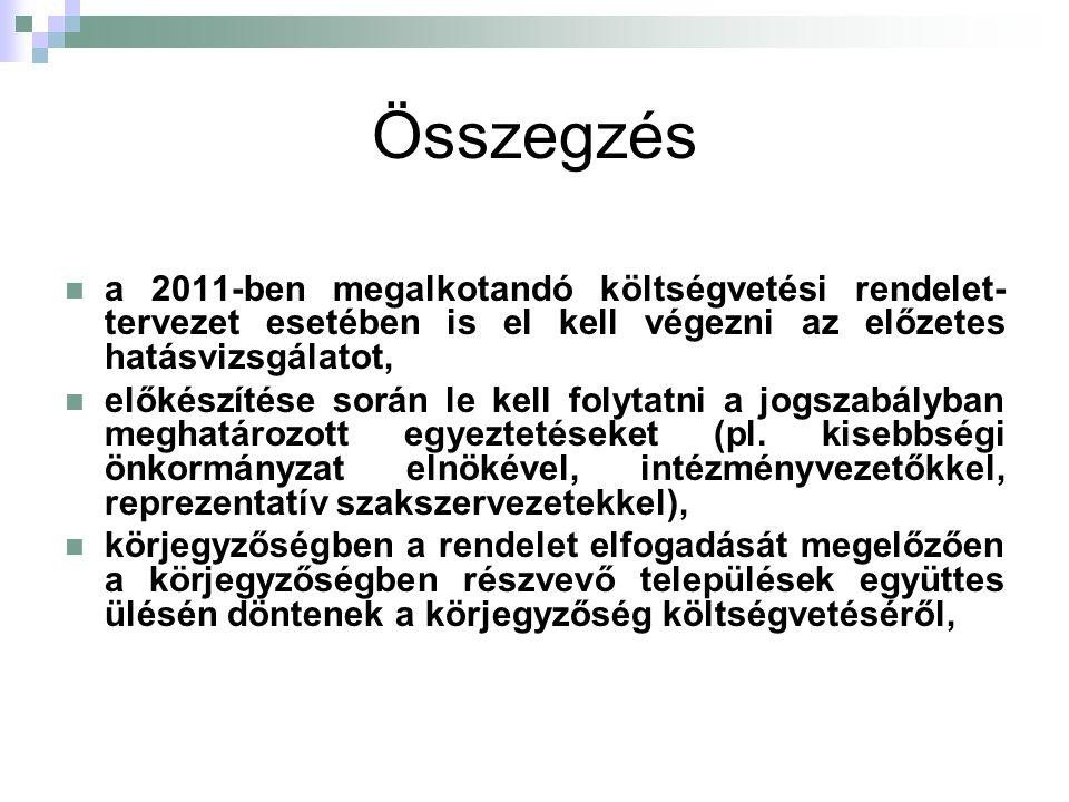 Összegzés a 2011-ben megalkotandó költségvetési rendelet-tervezet esetében is el kell végezni az előzetes hatásvizsgálatot,