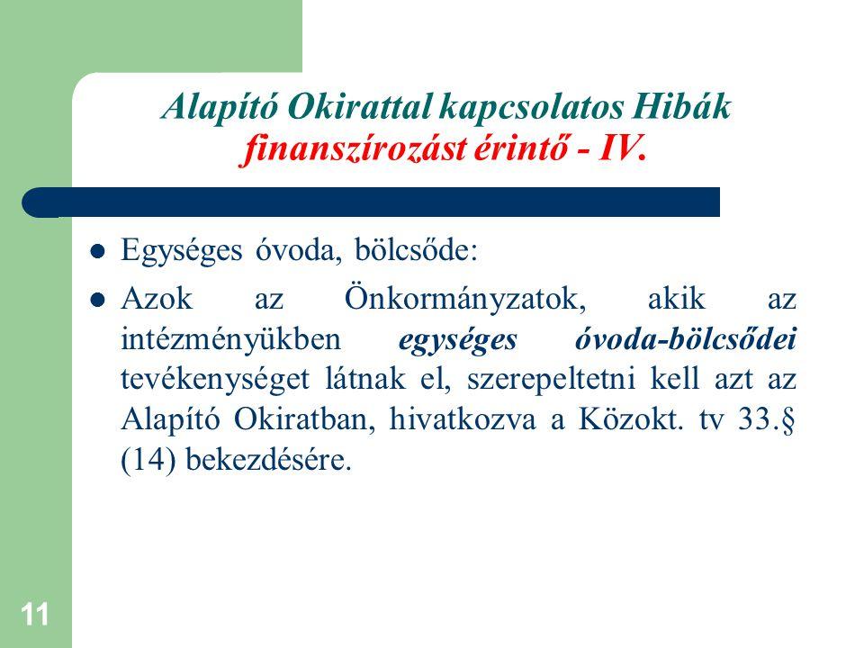 Alapító Okirattal kapcsolatos Hibák finanszírozást érintő - IV.
