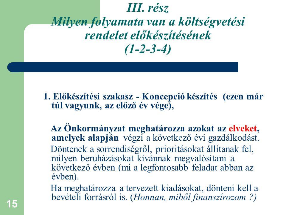 III. rész Milyen folyamata van a költségvetési rendelet előkészítésének (1-2-3-4)