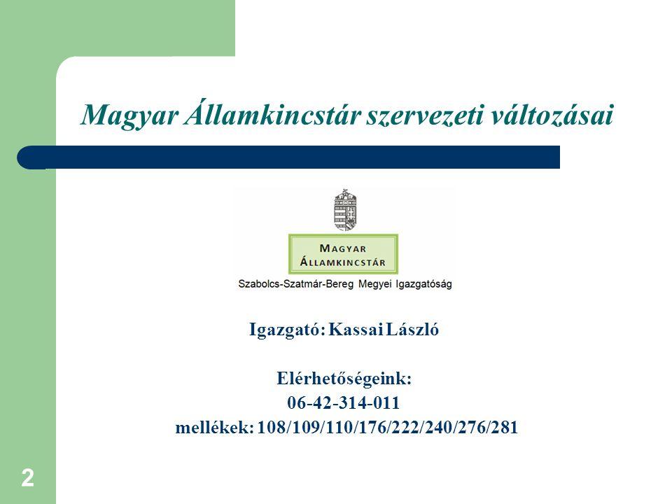 Magyar Államkincstár szervezeti változásai