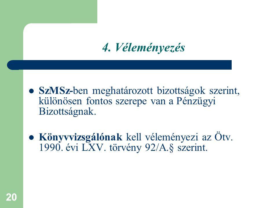 4. Véleményezés SzMSz-ben meghatározott bizottságok szerint, különösen fontos szerepe van a Pénzügyi Bizottságnak.