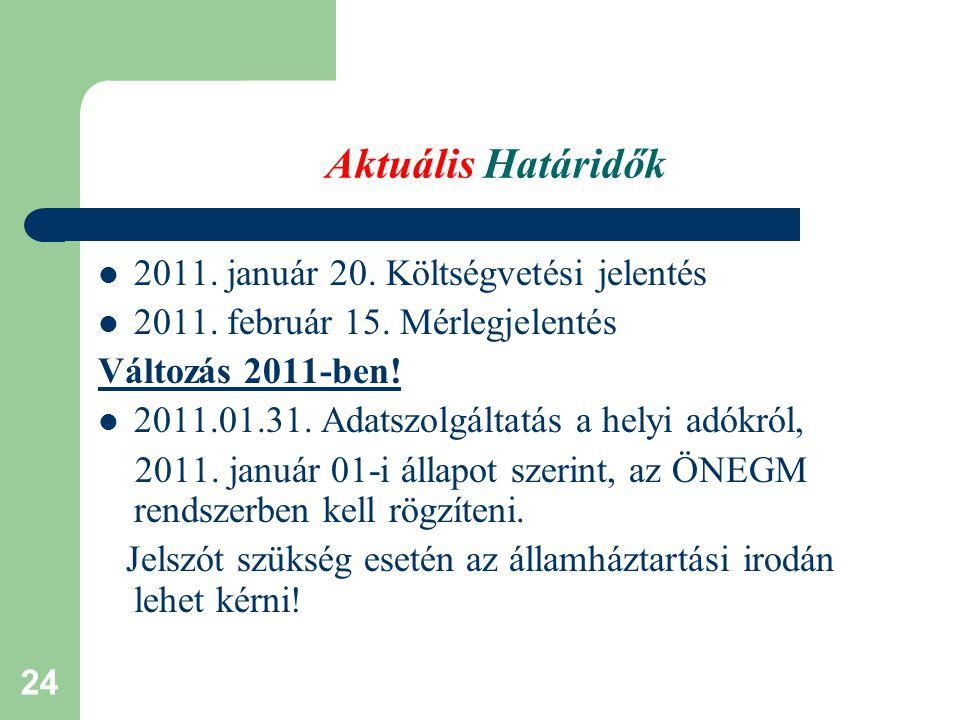 Aktuális Határidők 2011. január 20. Költségvetési jelentés