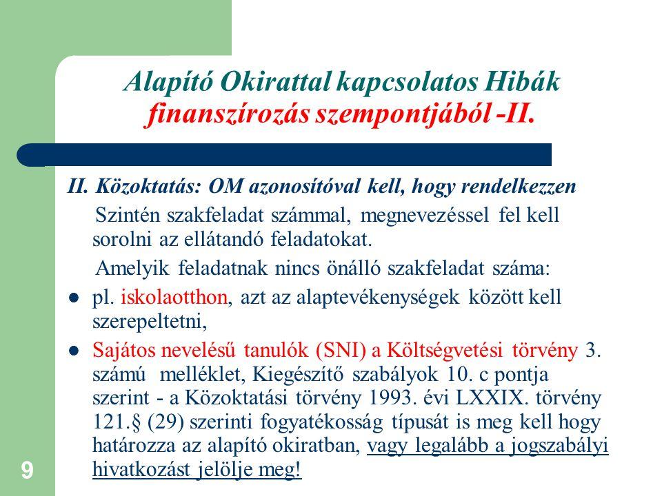 Alapító Okirattal kapcsolatos Hibák finanszírozás szempontjából -II.