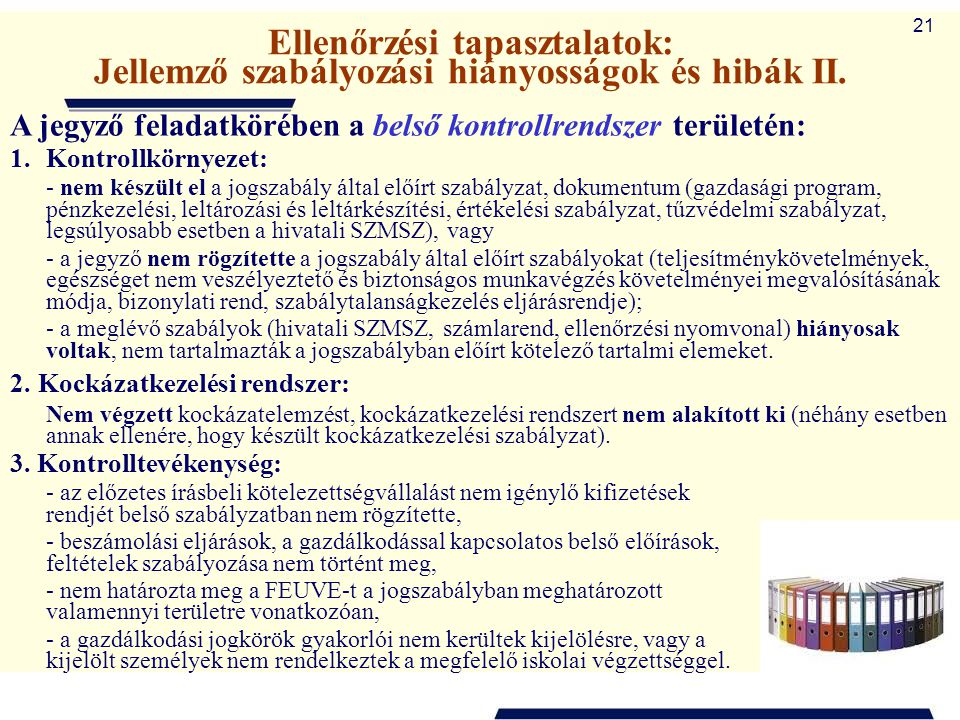 Ellenőrzési tapasztalatok: Jellemző szabályozási hiányosságok és hibák II.