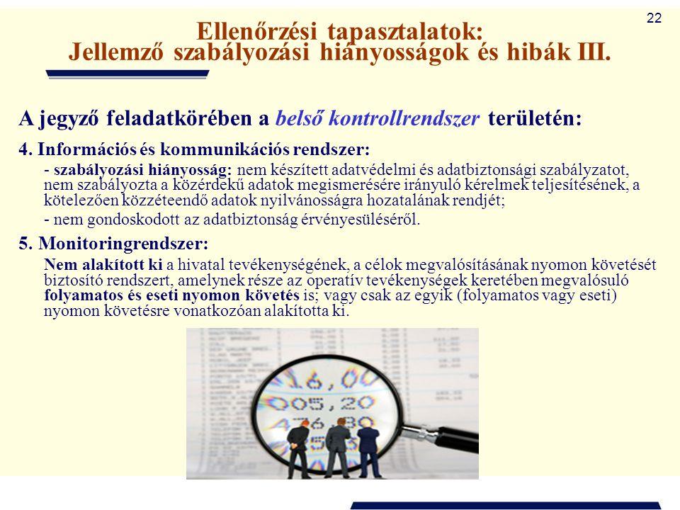 Ellenőrzési tapasztalatok: Jellemző szabályozási hiányosságok és hibák III.