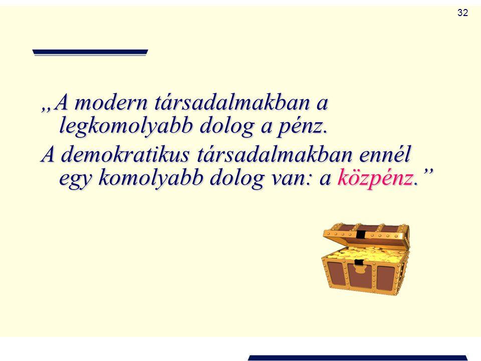 """""""A modern társadalmakban a legkomolyabb dolog a pénz."""
