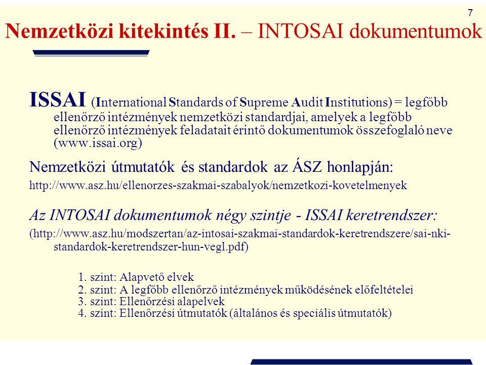 Nemzetközi kitekintés II. – INTOSAI dokumentumok