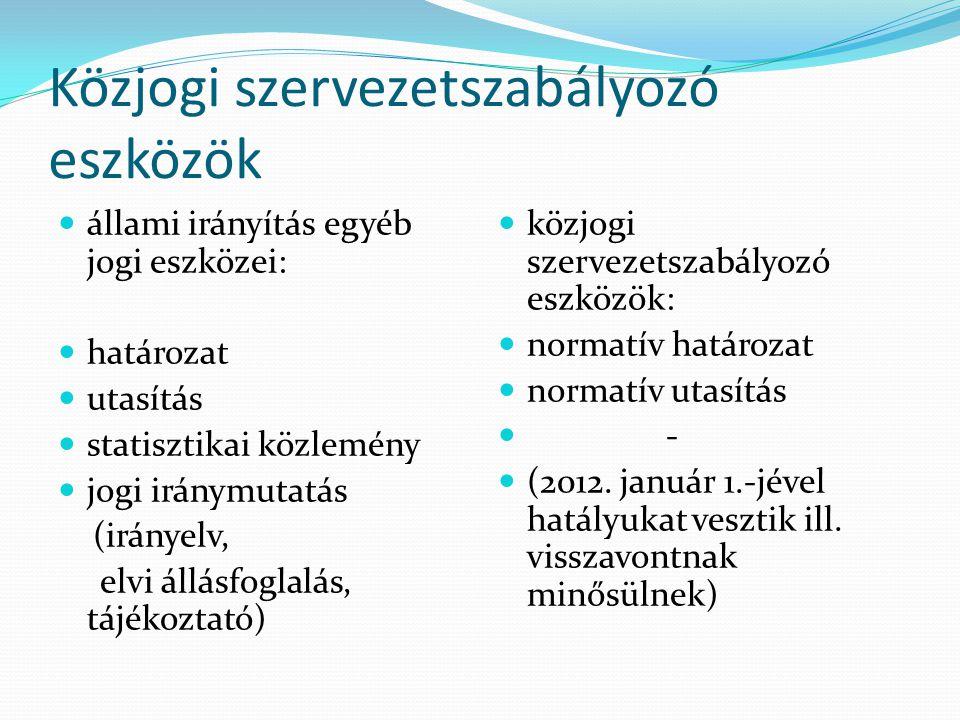 Közjogi szervezetszabályozó eszközök