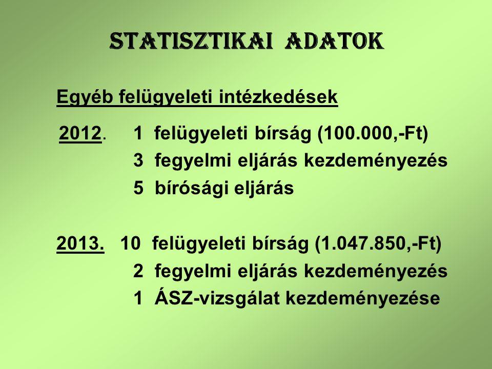 STATISZTIKAI ADATOK Egyéb felügyeleti intézkedések