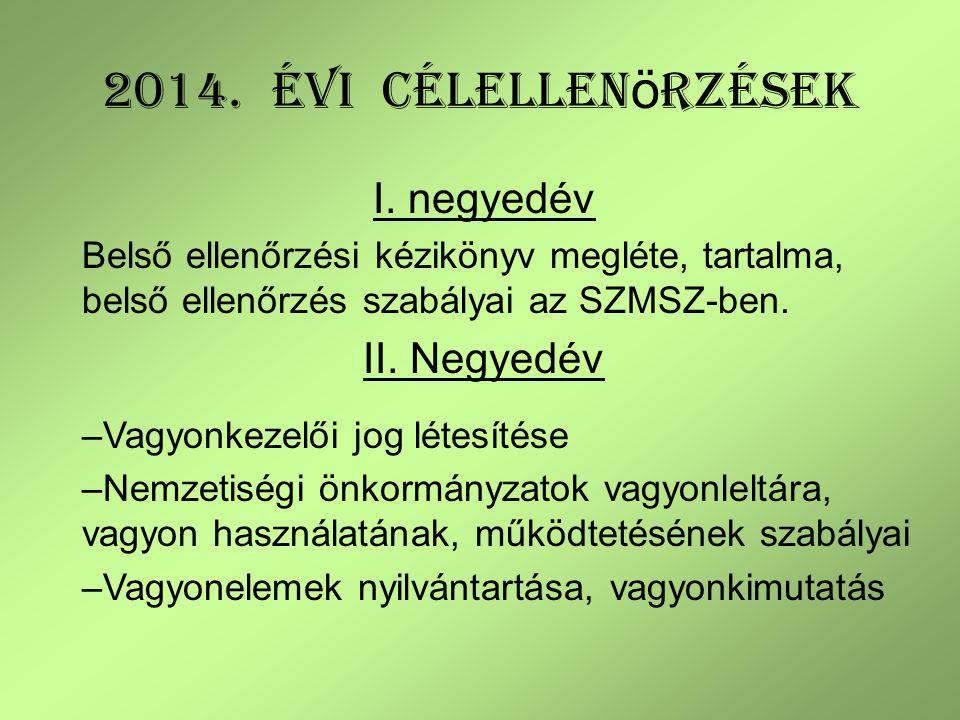 2014. évi CÉLellenörzések I. negyedév II. Negyedév