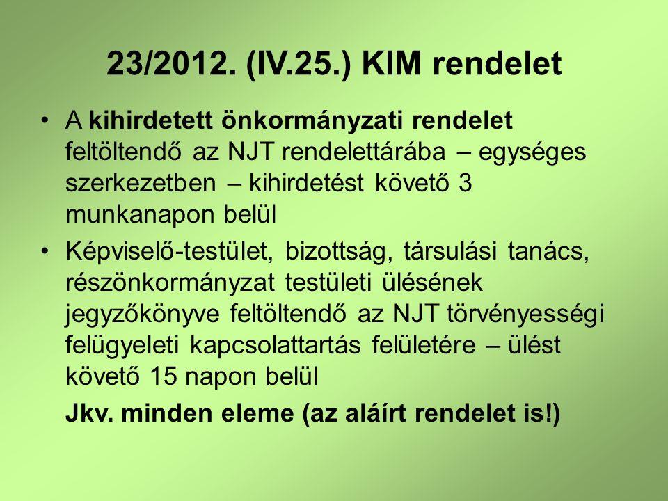 23/2012. (IV.25.) KIM rendelet