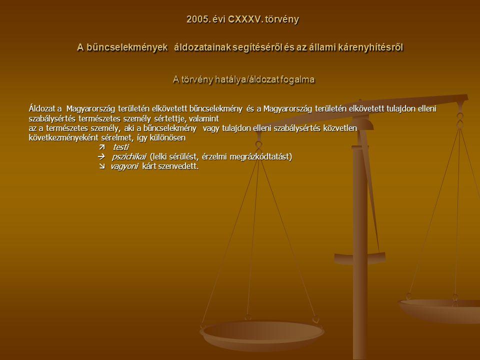2005. évi CXXXV. törvény A bűncselekmények áldozatainak segítéséről és az állami kárenyhítésről A törvény hatálya/áldozat fogalma