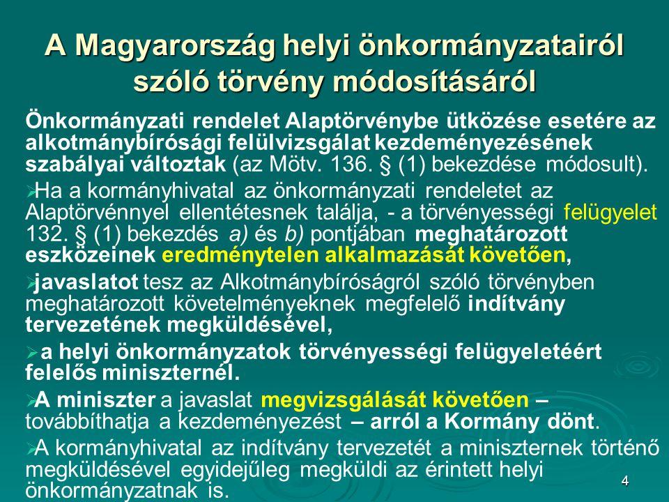 A Magyarország helyi önkormányzatairól szóló törvény módosításáról