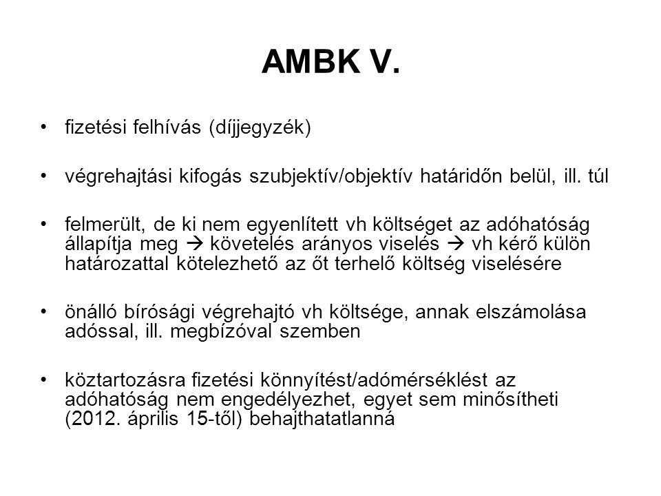 AMBK V. fizetési felhívás (díjjegyzék)